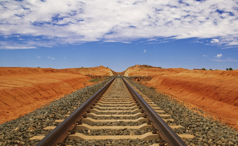 train tracks in a desert