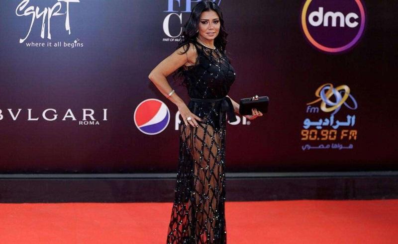 Rania Youssef black dress