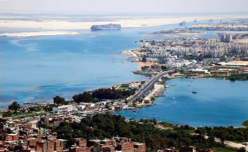 A aerial picture that shows Suez Canal in Ismailia.