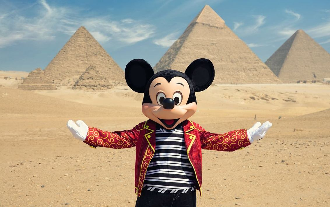 Mickey Mouse at the Great Pyramids of Giza