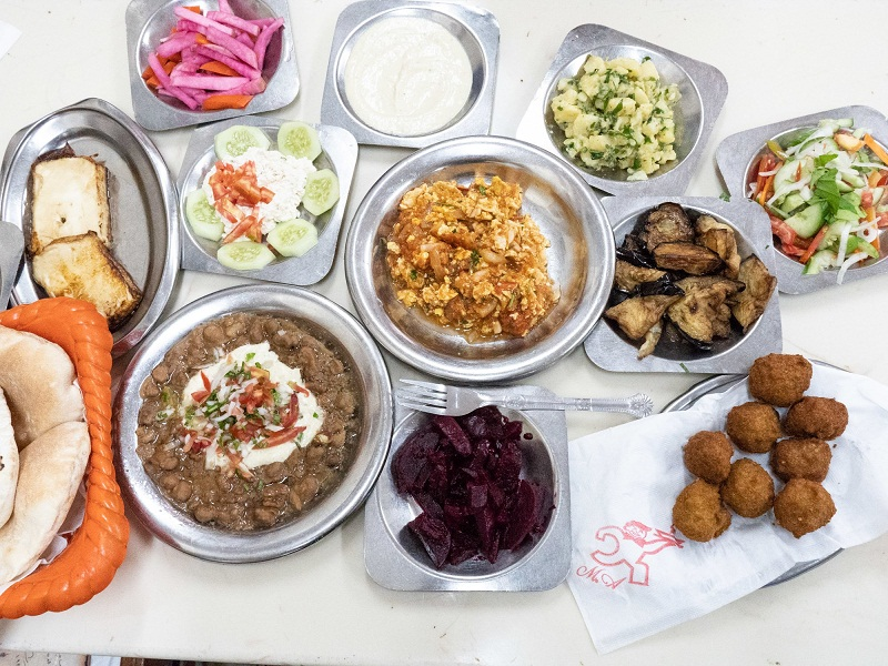 Alexandrian breakfast with foul and falafel
