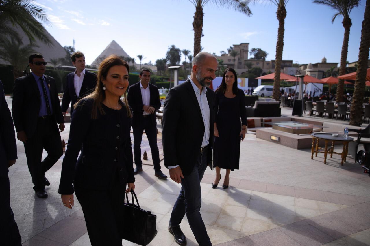 Investment Minister Sahar Nasr and Uber CEO Darak Khsroshahi