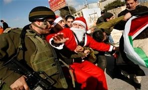 IDF Fire Tear Gas at Palestinian Santas