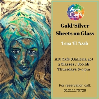 Gold /Silver sheets on glass @ Art Café