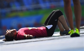 Egyptian Female Olympian Collapses At The Finish Line